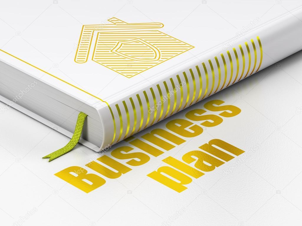 Concept Du0027entreprise : Livre Fermé Avec Or Maison Icône Et Texte Business  Plan Sur Le Plancher, Fond Blanc, Rendu 3d U2014 Image De Maxkabakov