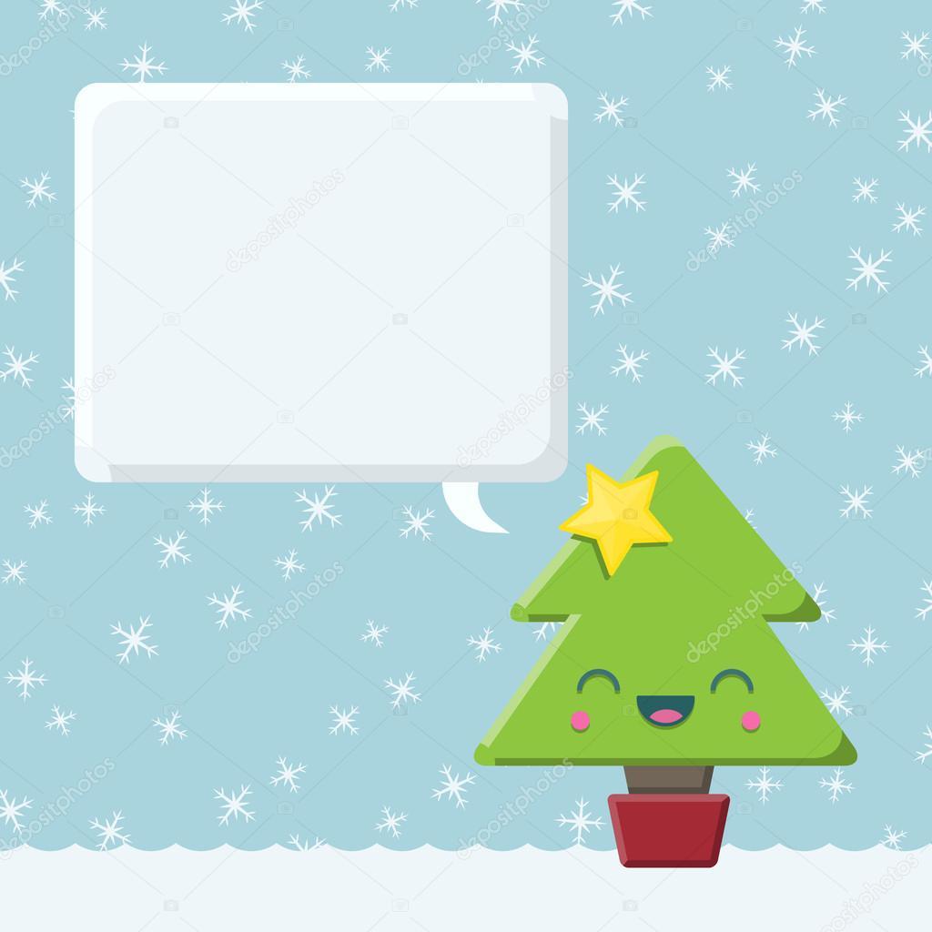 Arbre De Noël De Kawaii Avec Bulle De Dialogue Image