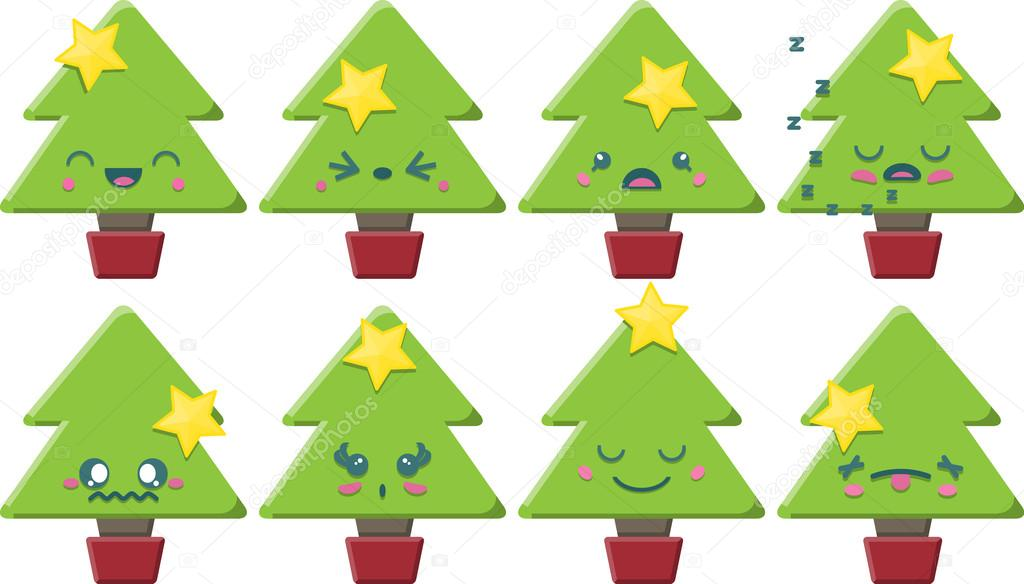 Immagini Natalizie Kawaii.Cartone Animato Kawaii Albero Di Natale Insieme Vettoriali Stock