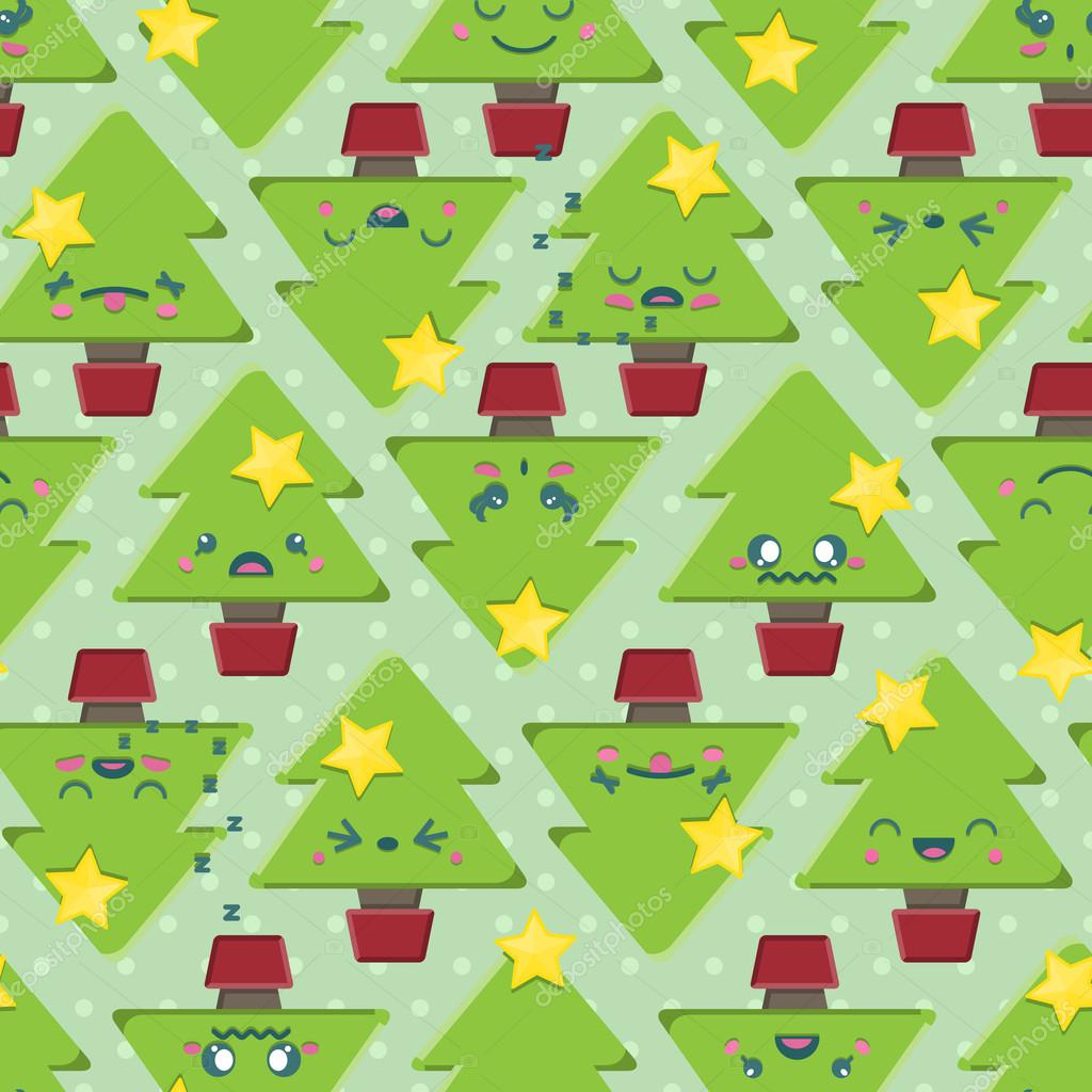 Seamless Cartoon Kawaii Christmas Tree Background — Stock Vector ...