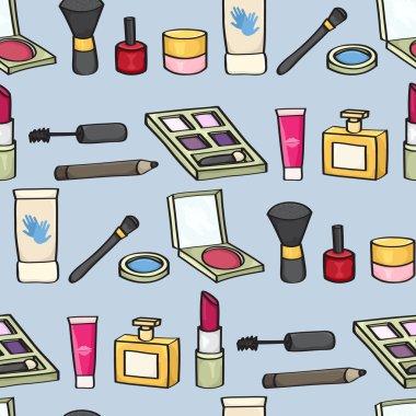 Cartoon Cosmetics Seamless Background
