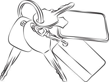 Set of Keys Line Drawing