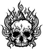 Fotografia immagine di grafica vettoriale teschio fiammeggiante