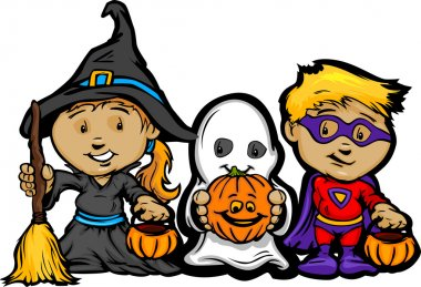 Cute Halloween Kids In Trick or Treat Costumes Cartoon Vector Il