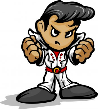 Tough Guy Rock Star with White Jumpsuit Vector Graphic