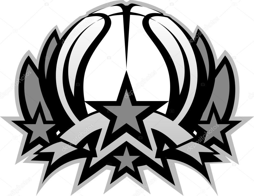 plantilla de gráfico baloncesto bola vector con estrellas — Archivo ...