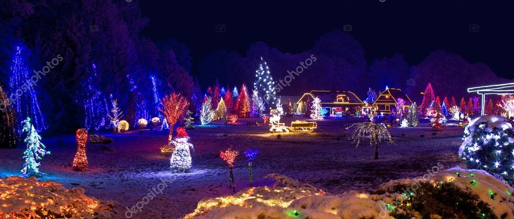 Village in christmas lights, panoramic view