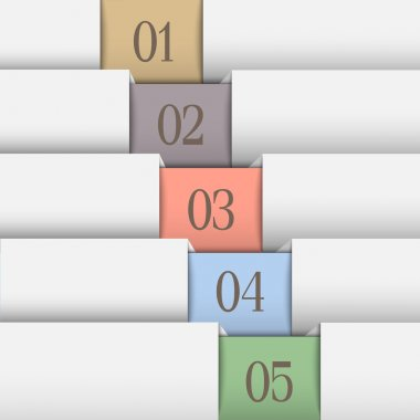 Horizontal numbered banners in pastel colors