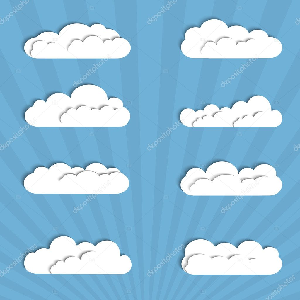 Collection of paper clouds