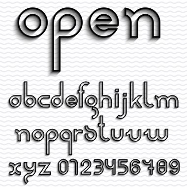 Slim outline font and numbers