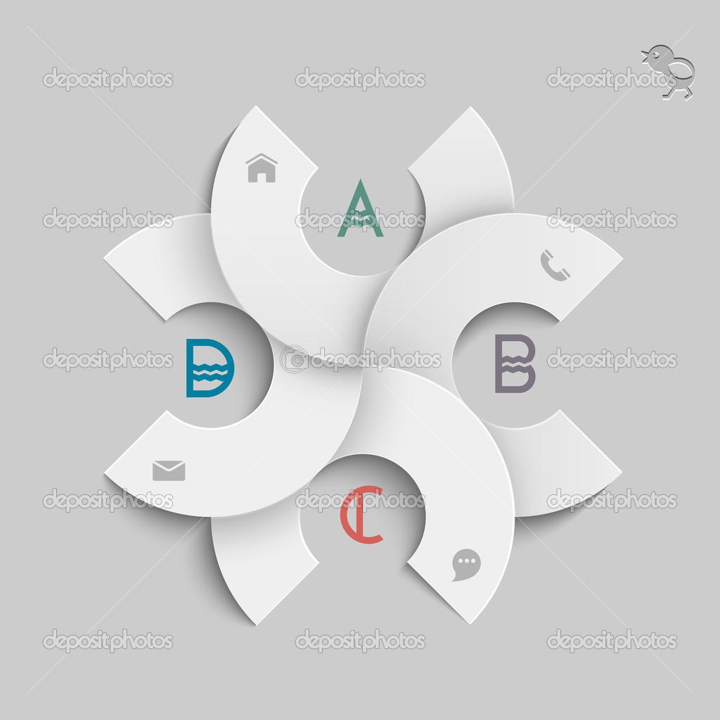 plantilla de diseño redondo blanco para infografía — Archivo ...