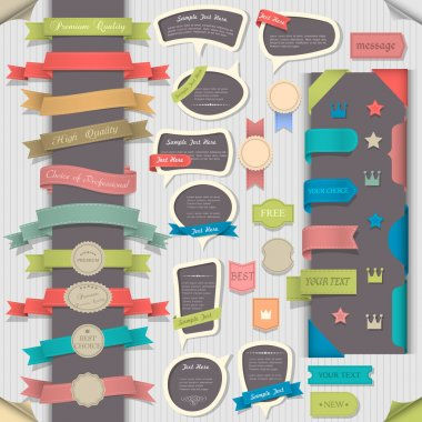 Big set retro design elements and speech bubbles. Vector collection stock vector