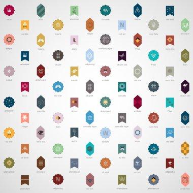 Big collection of various emblems