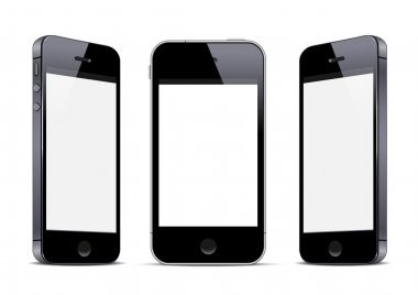 Three black smartphones