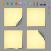Yellow notice papers with elements for attaching paper