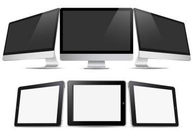 Three desktop computers and three tablets (pc)