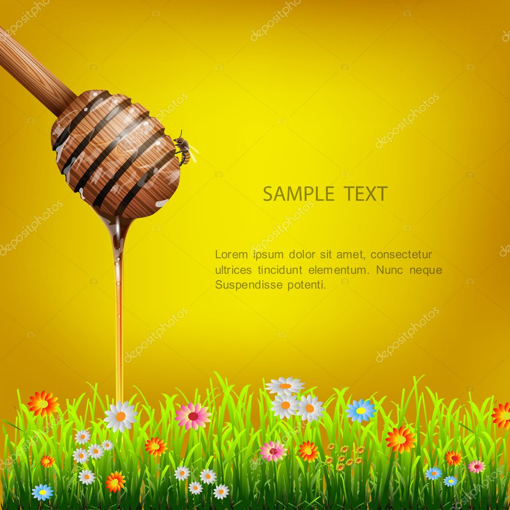 Honey dipper with bee and grass