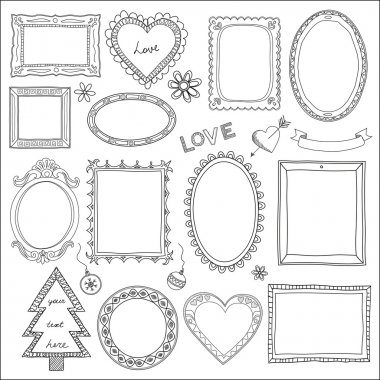Set of doodle frames and elements