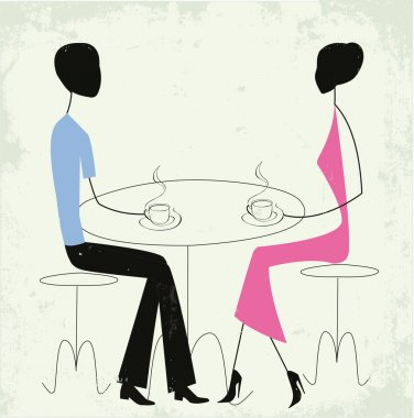 Man and woman in a cafe