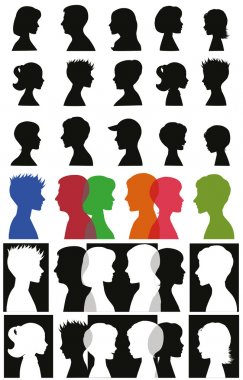 Set of adult and children silhouettes