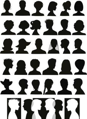 30 head silhouettes