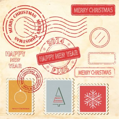 Set of Christmas and New Year stamps