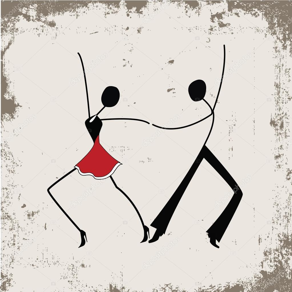Tanzen Mann Und Frau Strichmännchen Stockvektor Nataliashein
