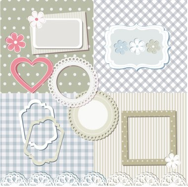 Scrapbook elements and set of seamless backgrounds