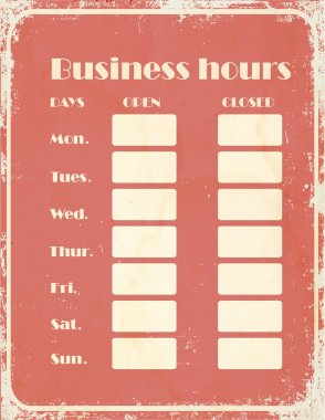 Business hours sign at retro style