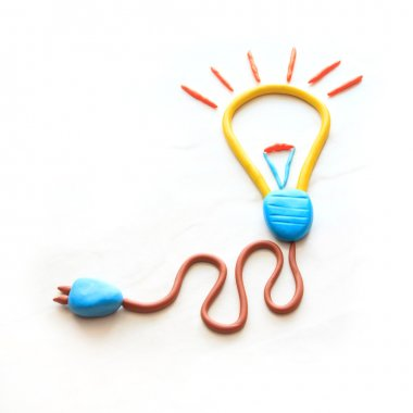 Electric bulb icon on white background by colorful clay children style
