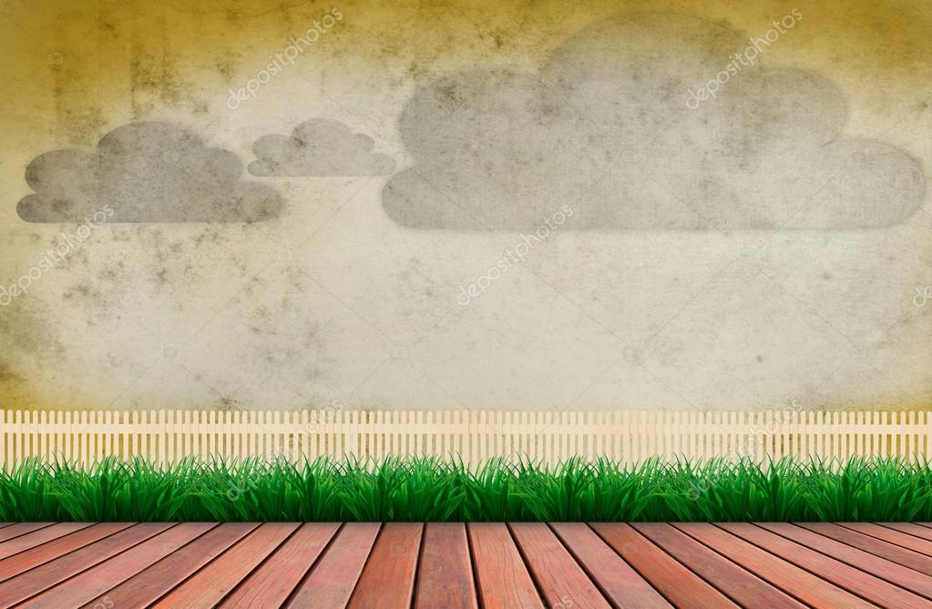 Antigua Muralla De Cemento Y Nube Con Terraza De Madera