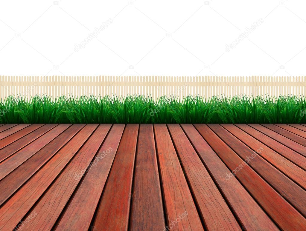 Terrasse mit Baum Pflanze Zaun als Hintergrund verwenden