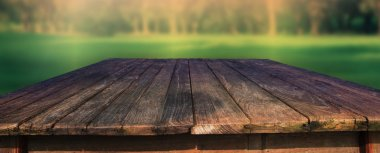 old wood table in field