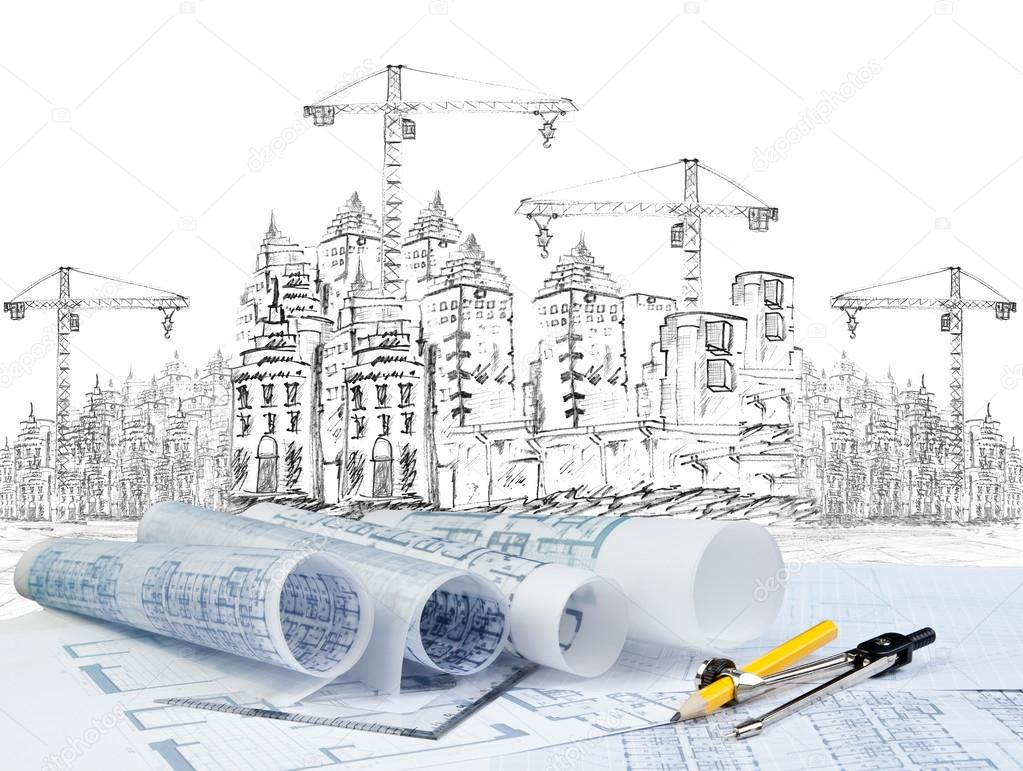 Sketching of modern building construction and plan for Construction moderne