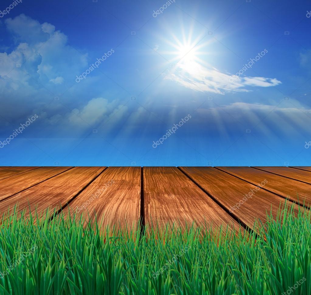 wood terrace and sun shining