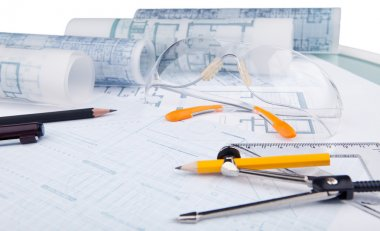 Safety glasses and writing equipment of architect
