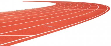 Red running track isolated on white