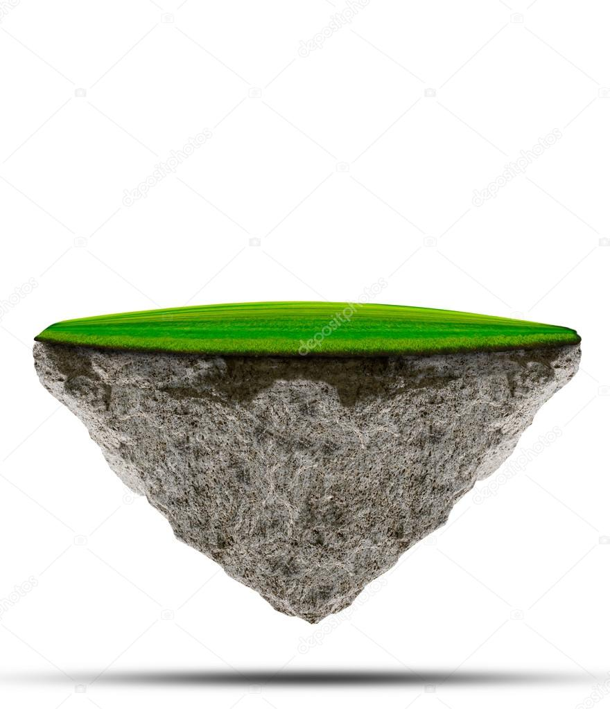 Two kind of floating green grass field over rock island on white use for multipurpose nature and creative background or backdrop