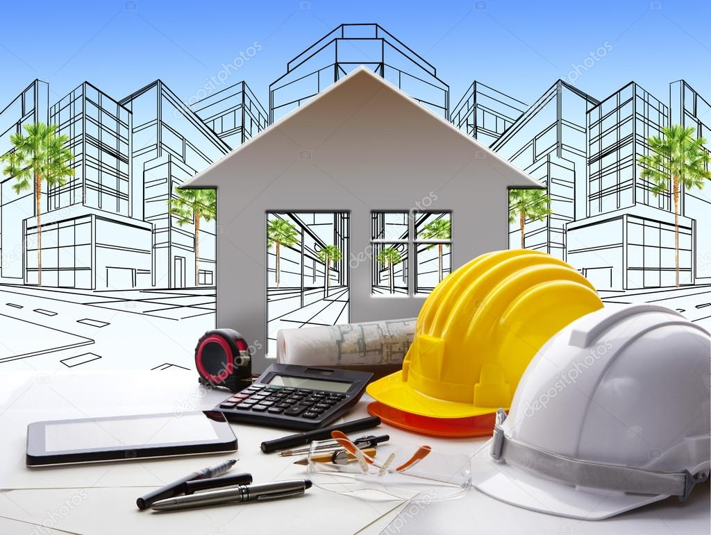 Architect working table with construction industry and engineer
