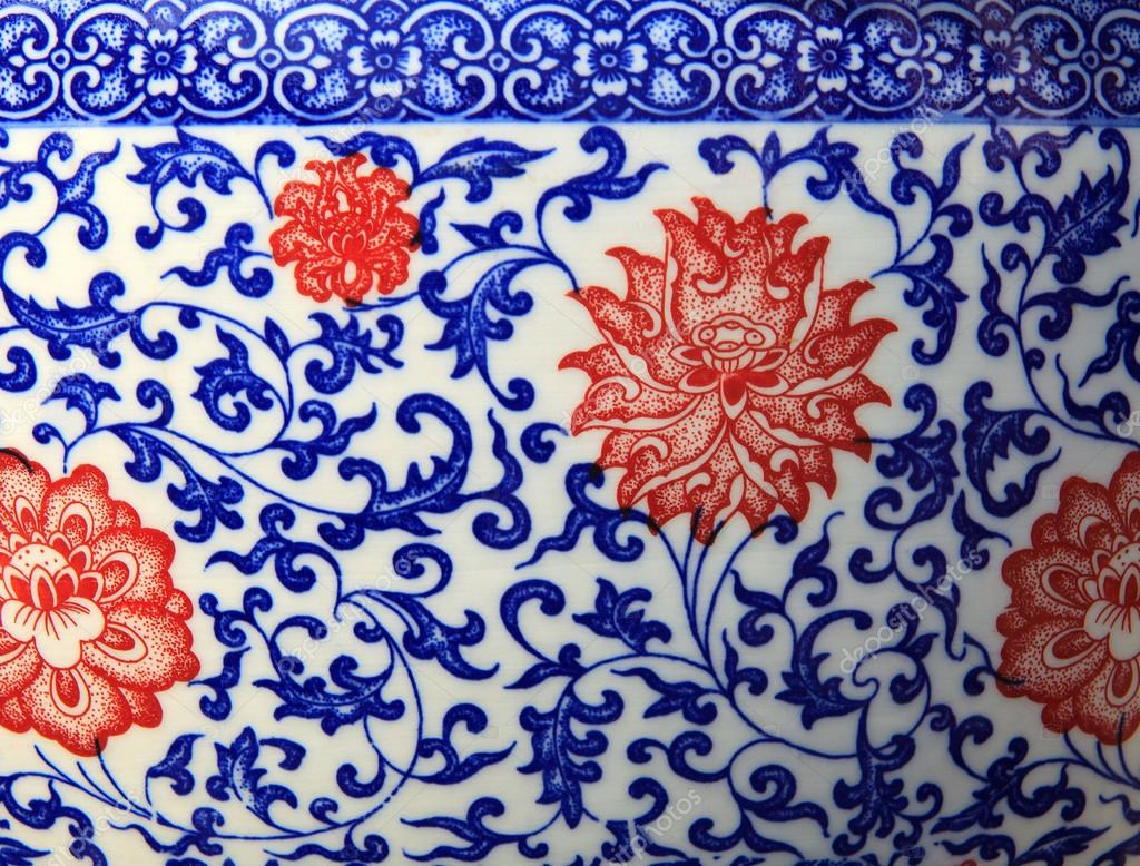 Old Chinese Flowers Pattern Style Painting On The Ceramic
