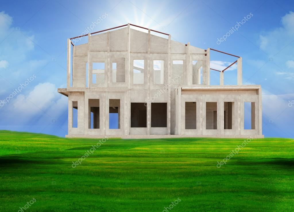 Frame knock down of house construction on beautiful green grass field use for real estate and land development business