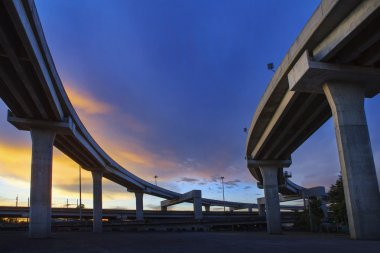 Concrete structure of express way against beautiful dusky sky us