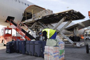 Airplane being loaded with luggage and bags