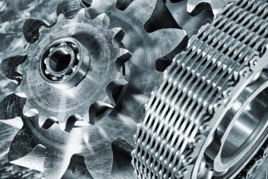 gears and cogs driven by timing-chain