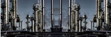 giant oil refinery panoramic