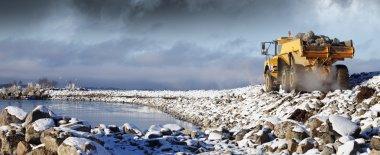 Heavy truck driving in rough terrain