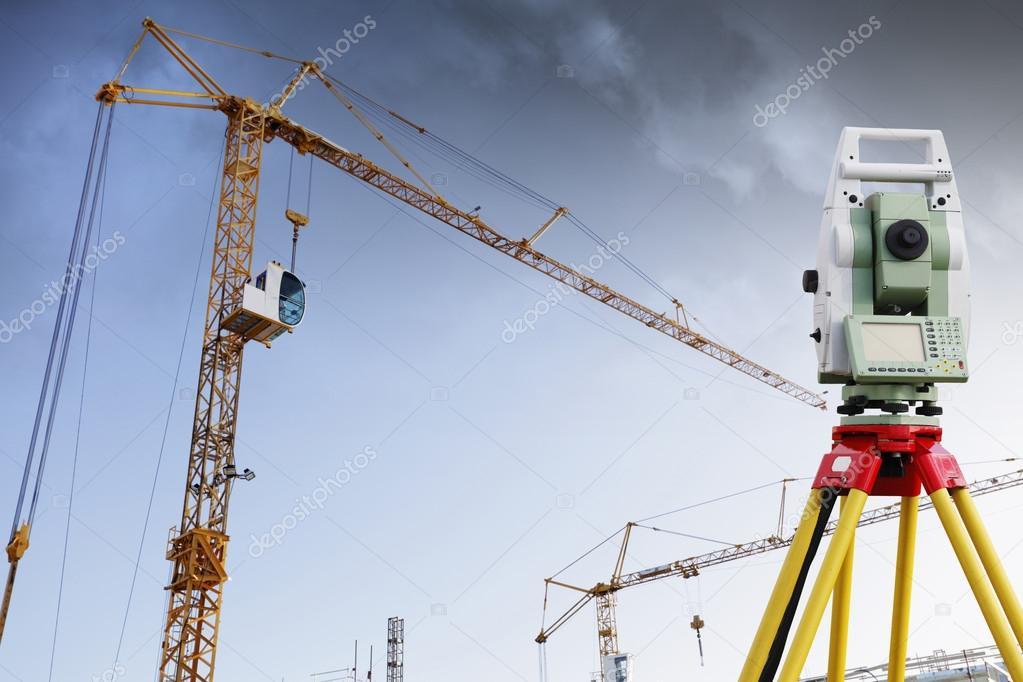 surveying measuring instrument inside building site