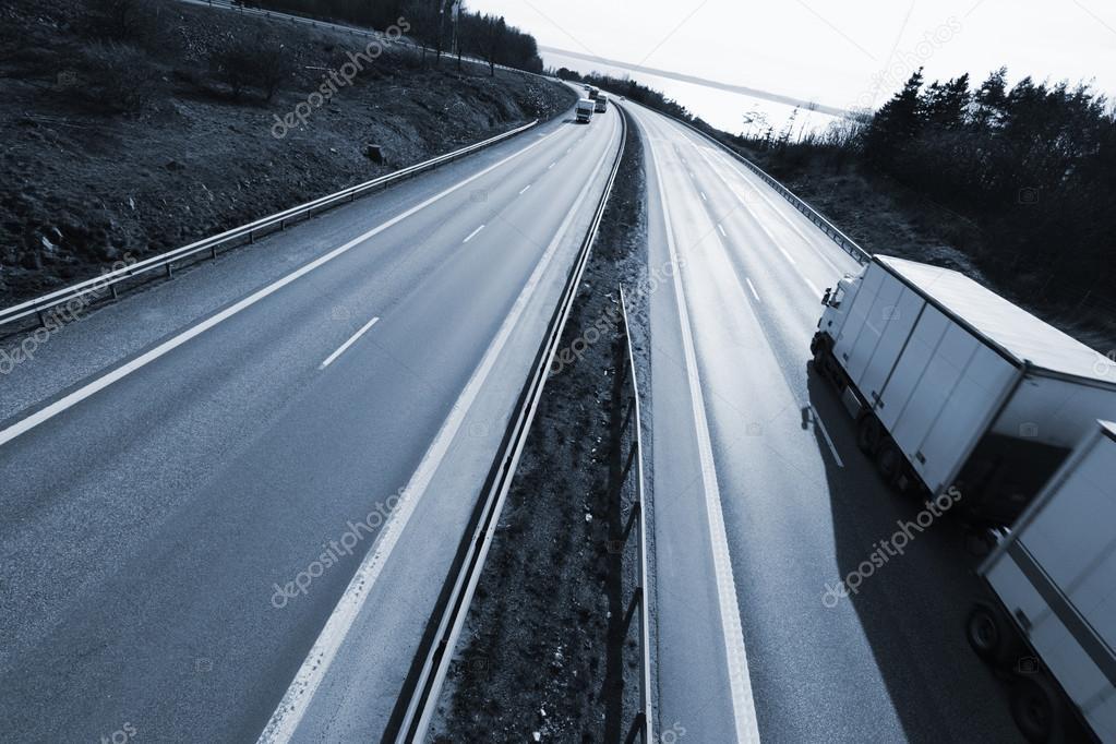 Truck driving on a dual lane freeway