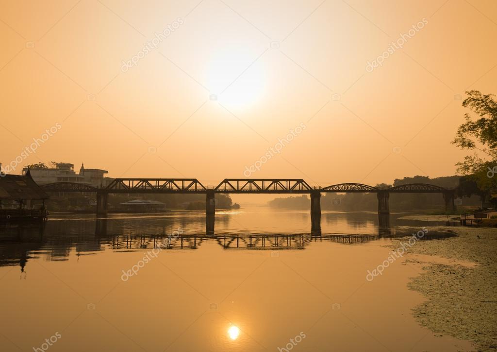 Natural view of Railway bridge over Kwai river