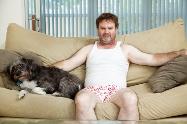 Couch Potato With His Dog